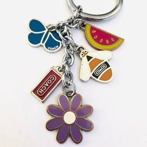 Coach Multi-charm ring key chain girlie bee flower